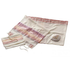 Cream & Pink Tallit for Women