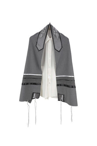 Prestigious Gray Viscose Tallit with Striped Design, Bar Mitzvah Tallit Set