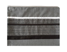 Load image into Gallery viewer, Prestigious Gray Viscose Tallit with Striped Design, Bar Mitzvah Tallit Set, Hebrew Prayer Shawl, Custom Tallit, Modern Tallit bag, Contemporary Tallit