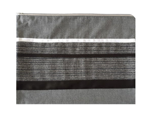 Prestigious Gray Viscose Tallit with Striped Design, Bar Mitzvah Tallit Set, Hebrew Prayer Shawl, Custom Tallit, Modern Tallit bag, Contemporary Tallit