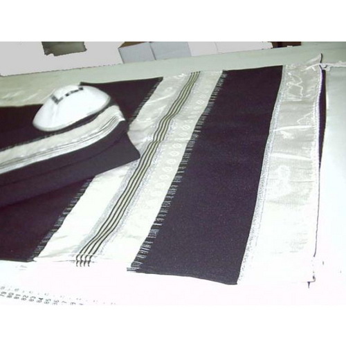 Wool Man Tallit Decorated With Silk & Made In Israel
