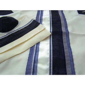 Blue Tallit With Traditional Design, Bar Mitzvah Tallit, Wool Tallit, Modern tallit, custom tallit from Israel by Galilee Silks