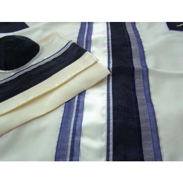 Blue Tallit With Traditional Design