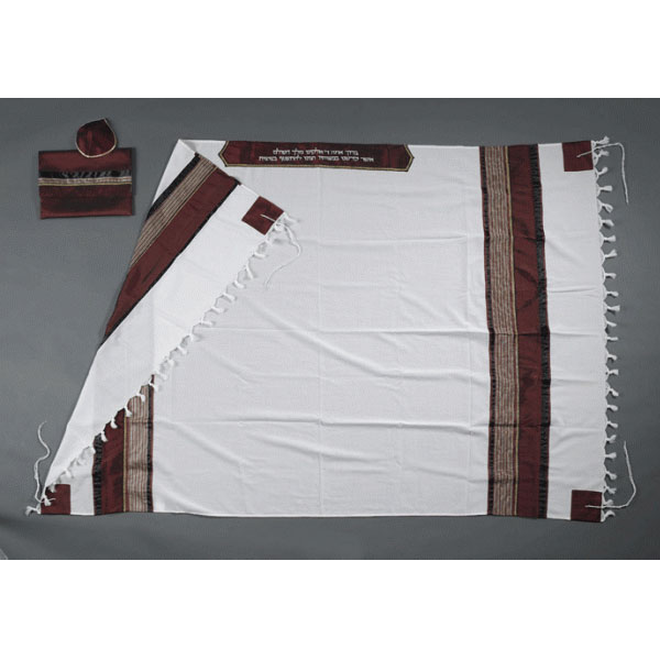 Jewish prayer shawl Wool Tallit With Bordeaux Stripes