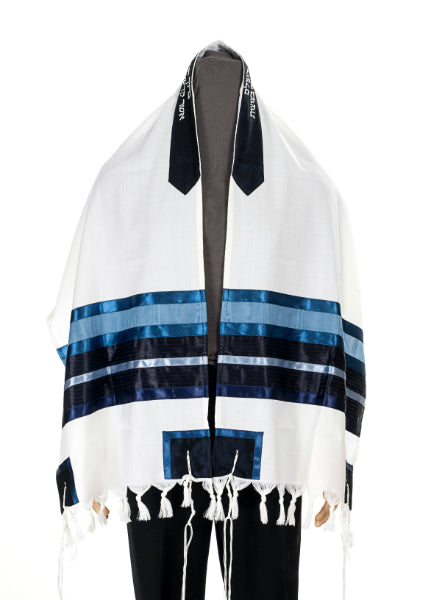 A Blue & White Wool Tallit for men - bar mitzvah tallit, custom tallit, wedding tallit by Galilee Silks