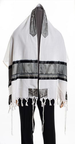 Modern Grey & Black Tallit for Men full