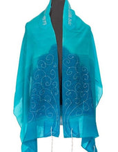 Load image into Gallery viewer, Turquoise Silk Tallit for girl, Bat Mitzvah Tallit, girls tallit, tallit for women,Hand made Tallit, tree of life tallit by Galilee Silks