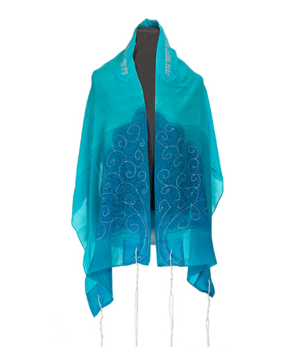 Turquoise Silk Tallit for girl, Bat Mitzvah Tallit, girls tallit, womens tallit,Hand made Tallit, tree of life tallit by Galilee Silks