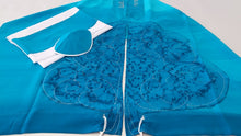 Load image into Gallery viewer, Turquoise Silk Tallit for girl, Bat Mitzvah Tallit, girls tallit, womens tallit,Hand made Tallit, tree of life tallit spread by Galilee Silks