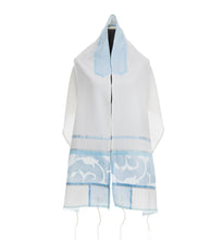 Load image into Gallery viewer, Paper Cut light Blue tallit, silk tallit for woman, girl tallit, bat mitzvah tallit set