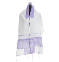 Load image into Gallery viewer, Paper Cut Purple Tallit,Girls Tallit, Bat Mitzvah Tallit, Tallit for Women