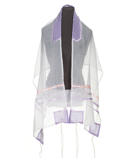 Pastel Peach and Purple dots Tallit for Girls, bat mitzvah tallis