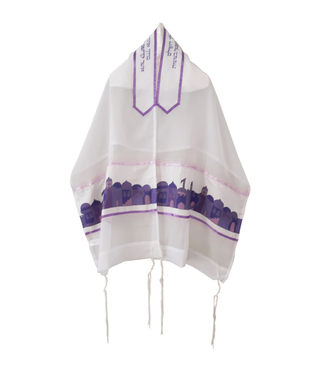 Jerusalem Name and Landscape in Purple Silk shades, Bat Mitzvah Tallit, Girl's Tallit, Tallit for Women