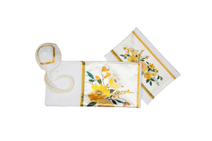 Watercolor Yellow Flowers Bouquet Tallit for Women, Bat Mitzvah Tallit set
