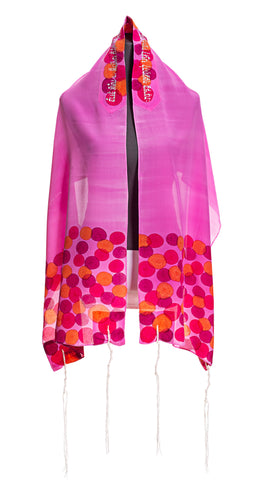 Rose Pink Flowered Tallit For Woman