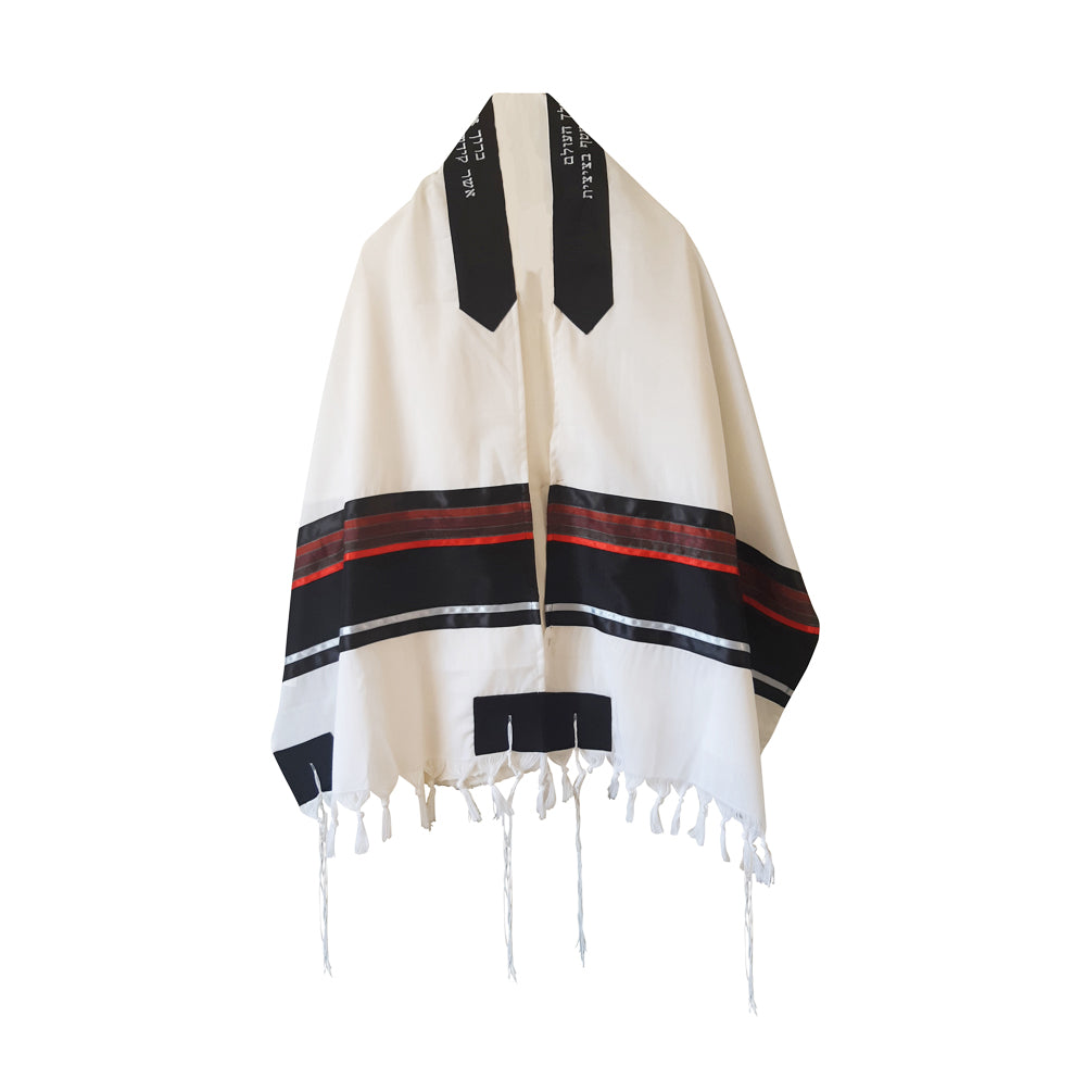 Red and Black Tallit, Bar Mitzvah Tallit Set, Wool Tallit, Tallit from Israel, Jewish Prayer Shawl, Custom Tallit