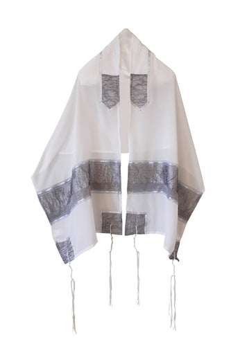 Gray Organza Panel decorated Silk Tallit For Woman, Girl's Tallit, Women's Tallit from Israel