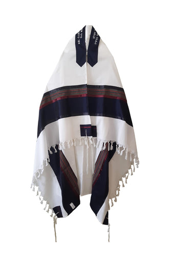 RGB - Dark Blue and Multi-Colors Wool Tallit, Bar Mitzvah tallit, Wedding Tallit, Chuppah Tallit