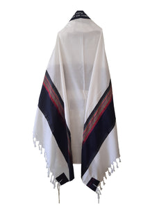 RGB - Dark Blue and Multi-Colors Wool Tallit, Bar Mitzvah tallit, Wedding Tallit, Chuppah Tallit back 2