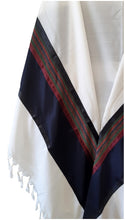 Load image into Gallery viewer, RGB - Dark Blue and Multi-Colors Wool Tallit, Bar Mitzvah tallit, Wedding Tallit, Chuppah Tallit wing