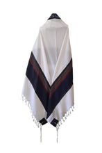 Load image into Gallery viewer, RGB - Dark Blue and Multi-Colors Wool Tallit, Bar Mitzvah tallit, Wedding Tallit, Chuppah Tallit back