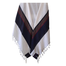 Load image into Gallery viewer, RGB - Dark Blue and Multi-Colors Wool Tallit, Bar Mitzvah Tallit, Wedding Tallit, Chuppah Tallit