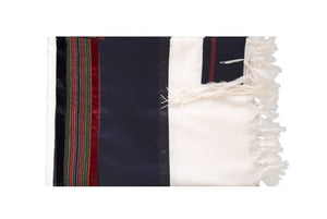 RGB - Dark Blue and Multi-Colors Wool Tallit, Bar Mitzvah tallit, Wedding Tallit, Chuppah Tallit folded