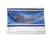 Load image into Gallery viewer, Moon Surface & Sea Hand Painted Silk on Wool Tallit, Bar Mitzva Tallit bag, Tzitzit