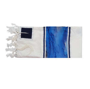 Moon Surface & Sea Hand Painted Silk on Wool Tallit, Bar Mitzva Tallit flat, Tzitzit