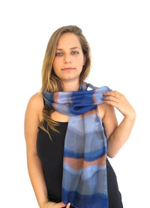 Smoked Blues and Orange Hand Painted Silk Scarf