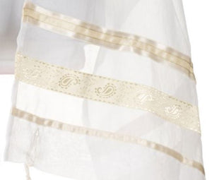 Cream Paisley Tallit for women, girls tallit, bat mitzvah tallit, womens tallit ribbons