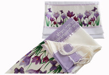 Load image into Gallery viewer, Lilac Crocuses Field Tallit for Women, Girl Tallit, Feminine Tallit, Bat Mitzvah Tallit Set