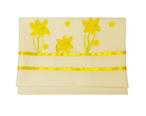 The Daffodils Hand Painted Silk Tallit for Women, Bat Mitzvah Tallit, Women's Tallit bag