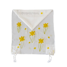 Load image into Gallery viewer, The Daffodils Hand Painted Silk Tallit for Women, Bat Mitzvah Tallit, Women's Tallit Prayer Shawl env