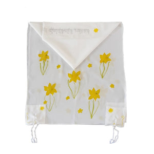 The Daffodils Hand Painted Silk Tallit for Women, Bat Mitzvah Tallit, Women's Tallit Prayer Shawl env