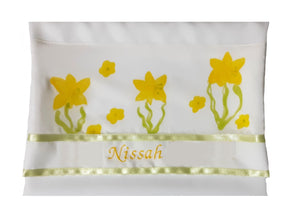 The Daffodils Hand Painted Silk Tallit for Women, Bat Mitzvah Tallit, Women's Tallit bag personalized