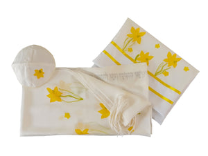 The Daffodils Hand Painted Silk Tallit for Women, Bat Mitzvah Tallit, Women's Tallit Prayer Shawl, Tallit for Girl