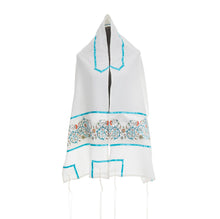 Load image into Gallery viewer, Delicate Turquoise Ornament and Flowers Tallit for Woman, Bat Mitzvah Tallit, Girls Tallit, Womens Tallit from Israel