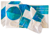 Load image into Gallery viewer, Sheer Four Mothers on Turquoise Silk Blend Bat Mitzvah Tallit, Tallit for Girl, Silk Tallit, Feminine Tallit, Women's Tallit Prayer Shawl