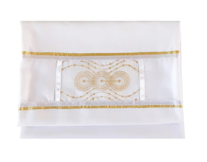 gold circles bat mitzvah tallit for women, girl tallit bag