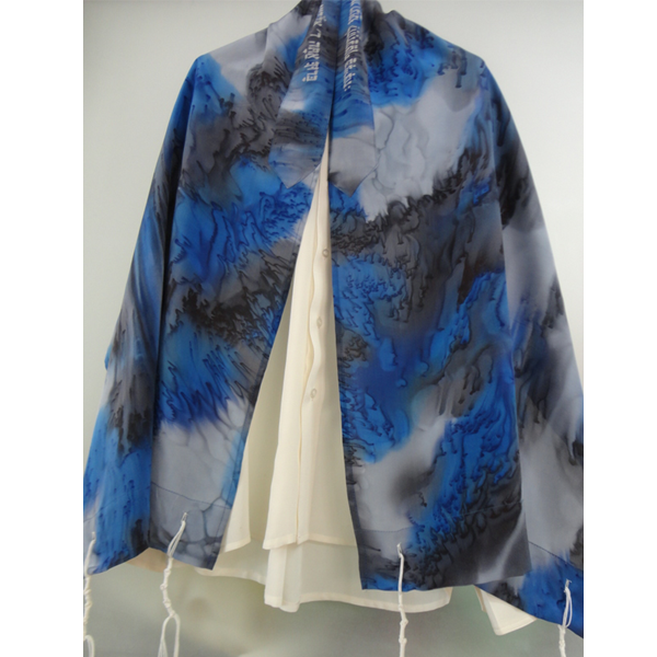 Blue and Black Silk Tallit for women