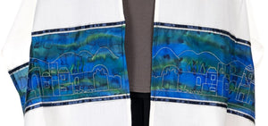 Wool tallit with Silver embroidered Jerusalem landscape by Galilee Silks Israel
