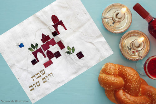 Hand Painted Silk Jerusalem Landscape Challah Cover