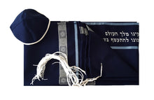 Load image into Gallery viewer, Navy Blue Tallit, Bar Mitzvah Tallit Set, Hebrew Prayer Shawl