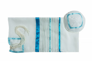 Sheer Fabric Tallit for Women with Teal Colored Elements, Bat Mitzvah Tallit Set, Girl Tallit