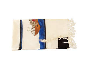 Noah's Ark Hand Painted Bar Mitzvah Tallit,  Modern Tallit for Boy flat1
