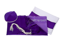 Load image into Gallery viewer, Tree of Life Tallit for Women, Bat Mitzvah Tallit, girls tallit set, womens tallit, Silk tallit, purple tallit