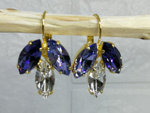 Load image into Gallery viewer, Purple and Lilac Swarovski Drop Marquise Earrings, Bat Mitzvah Earrings, Bat Mitzvah Gift