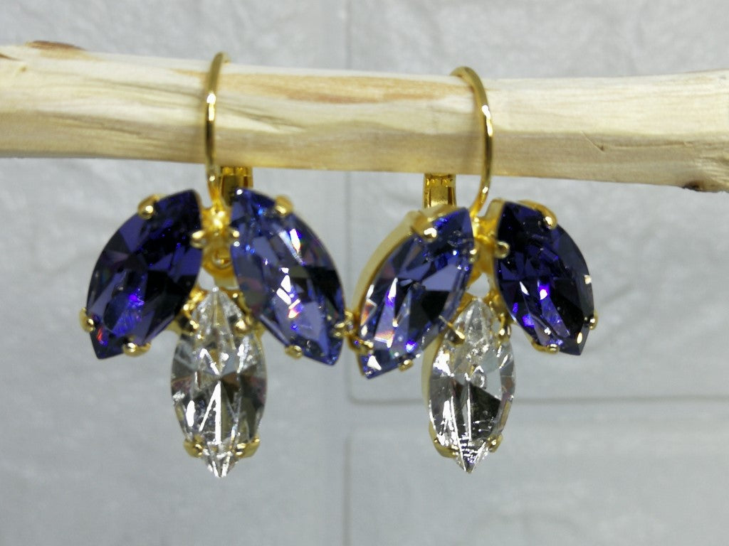 Purple and Lilac Swarovski Drop Marquise Earrings, Bat Mitzvah Earrings, Bat Mitzvah Gift