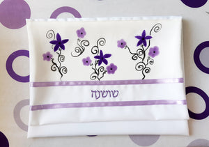 Purple Flowers Silk Tallit for girl, Bat Mitzvah Tallit, Tallit for Women